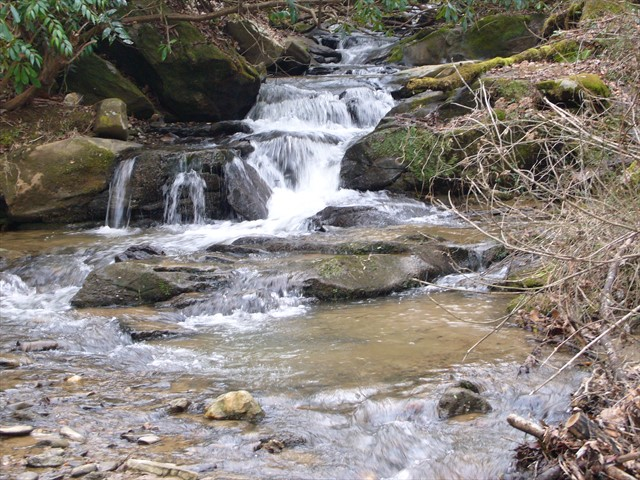 Take the trail along the creek to some waterfalls