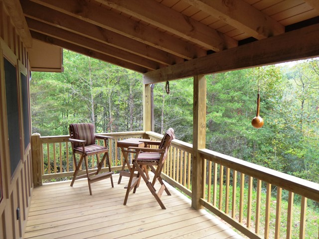 You can enjoy a snack or drink on the back porch